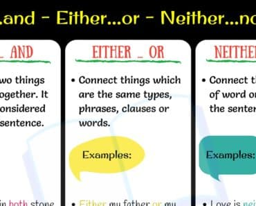 Conjunction Words: Both and - Either or - Neither nor