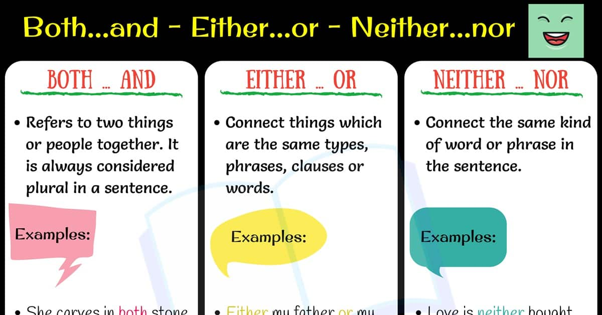 Conjunction Words:Both and - Either or - Neither nor