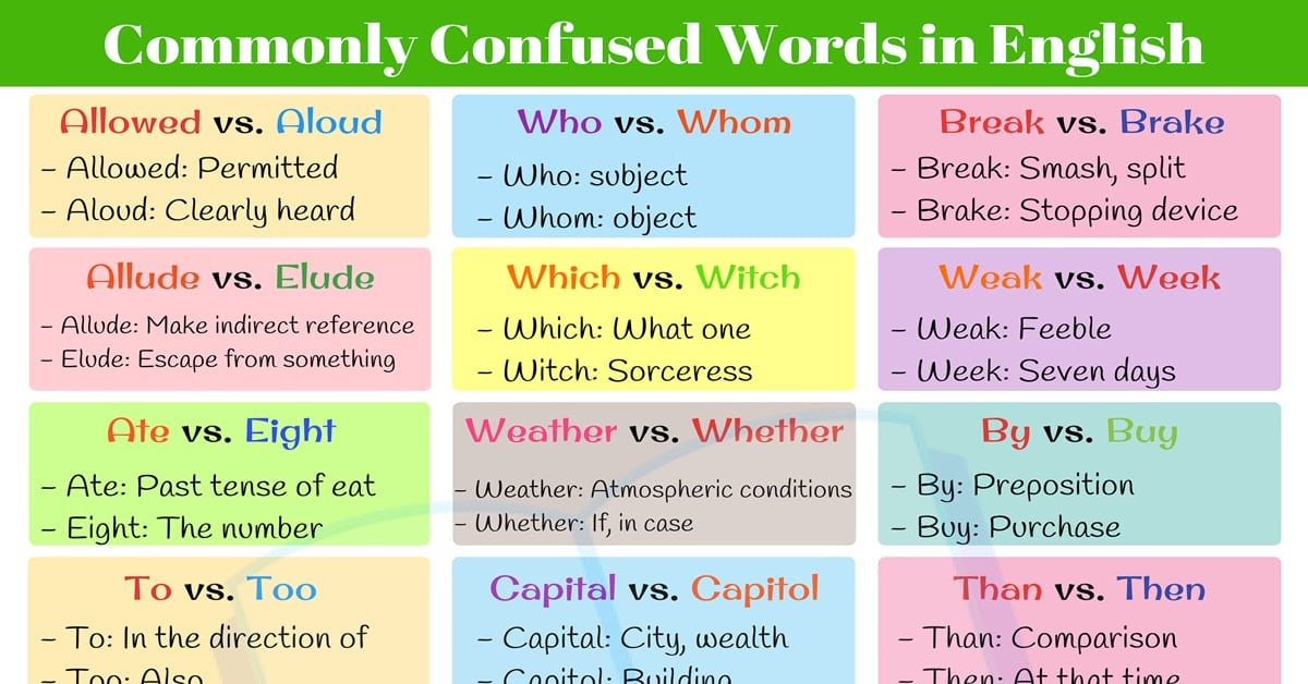 Commonly Confused Words: 20+ Pairs of English Words We Often Confuse 2