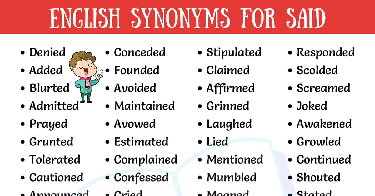 Said Synonyms - Useful Synonyms for Said