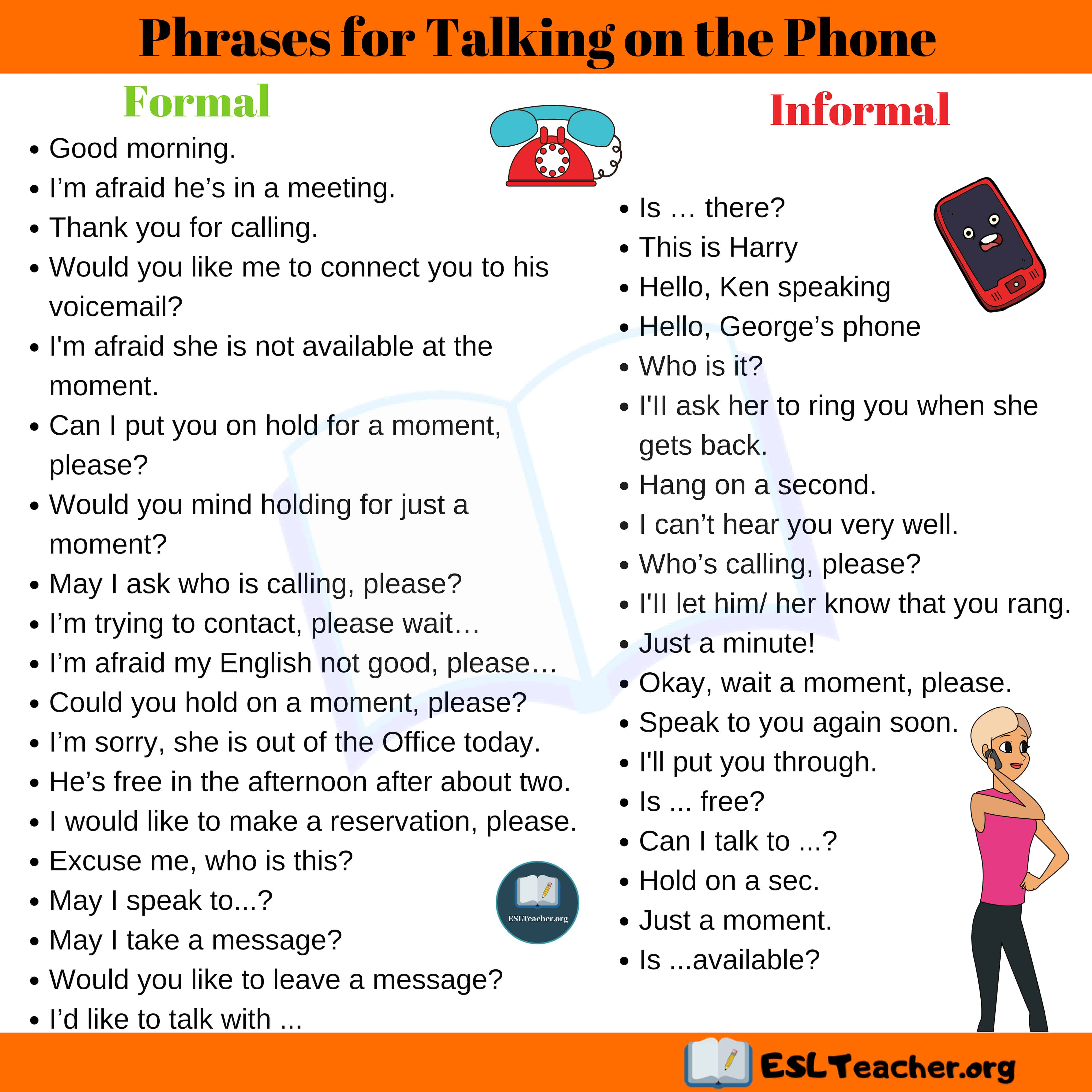 Useful Phrases for Talking on the Phone