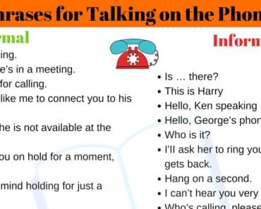 35+ Useful Expressions for Talking on the Phone 1