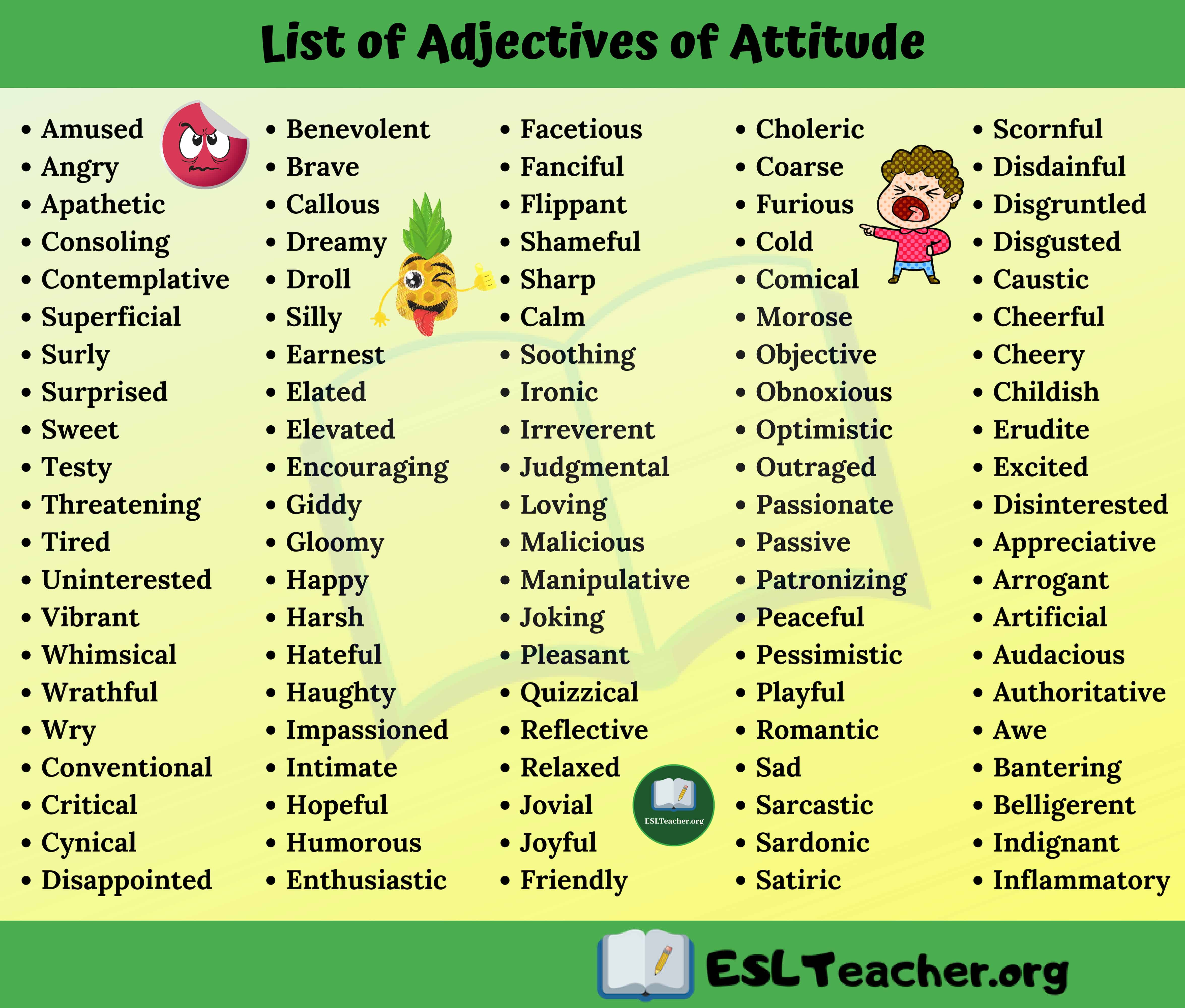 List of Adjectives of Attitude