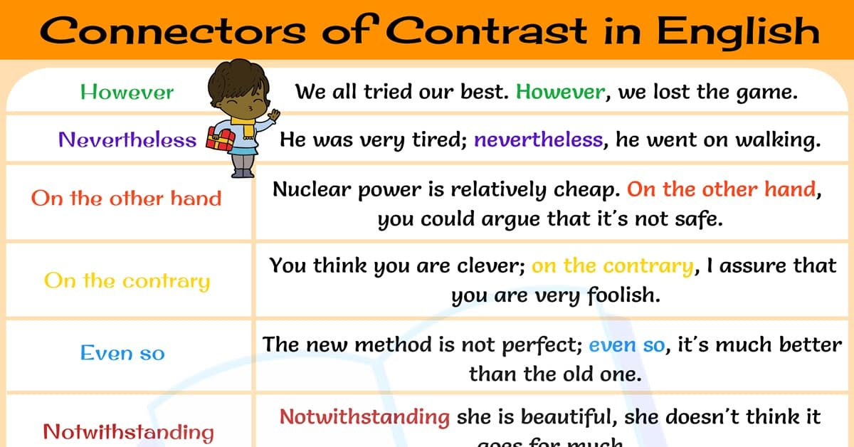 Connectors of Contrast: 15+ Useful Connectors of Contrast in English 1