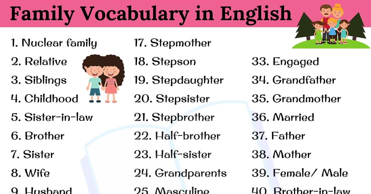 Family Word: 45+ Useful English Vocabulary Related to Family 2
