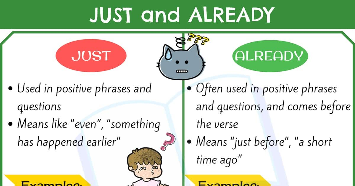 JUST and ALREADY: How to Use ALREADY and JUST Correctly 2