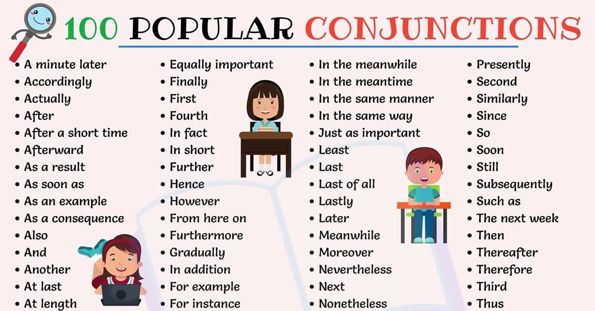 Conjunctions List: Top 100 Popular Conjunctions in Sentences 1