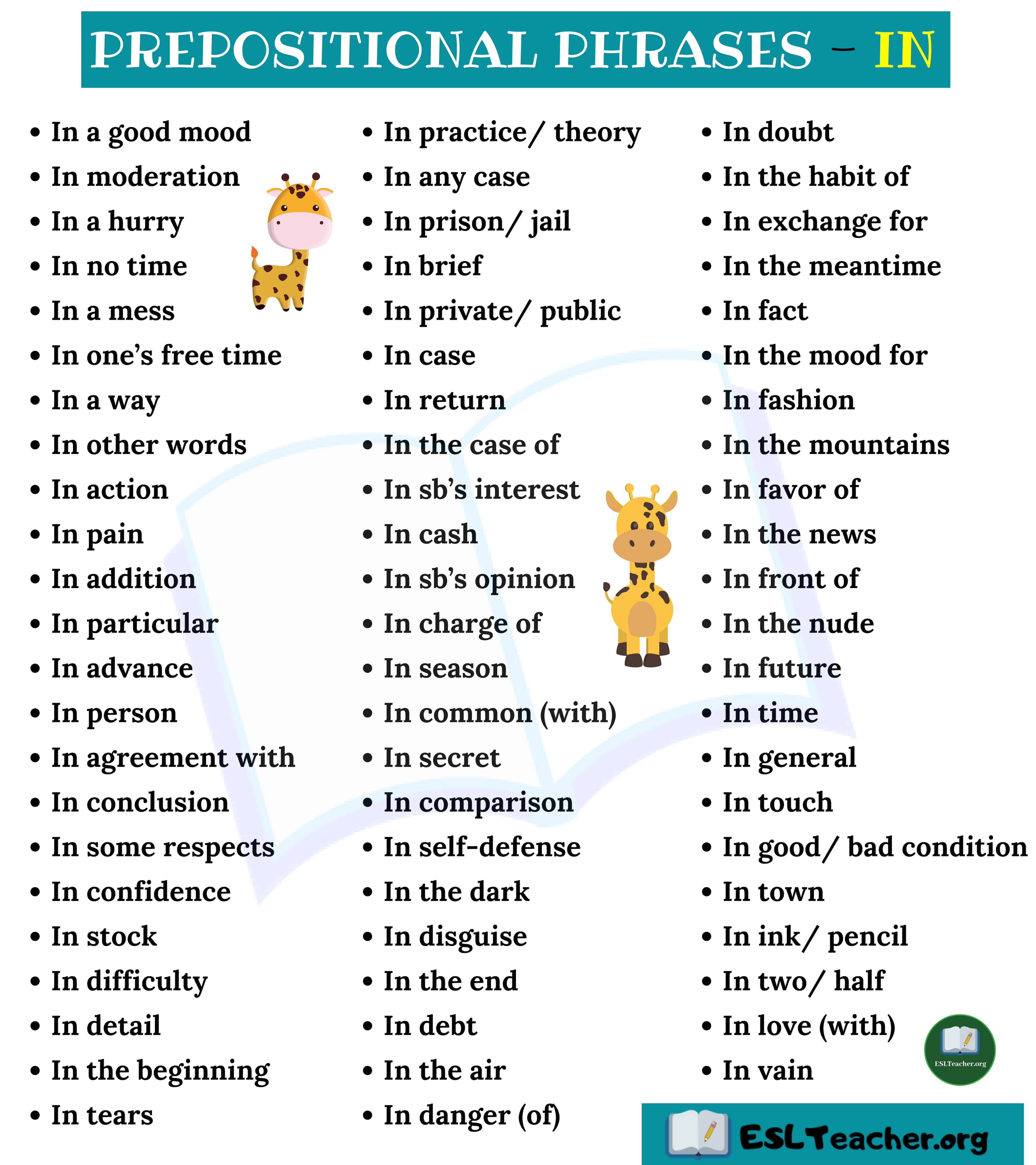 Prepositional Phrases with IN