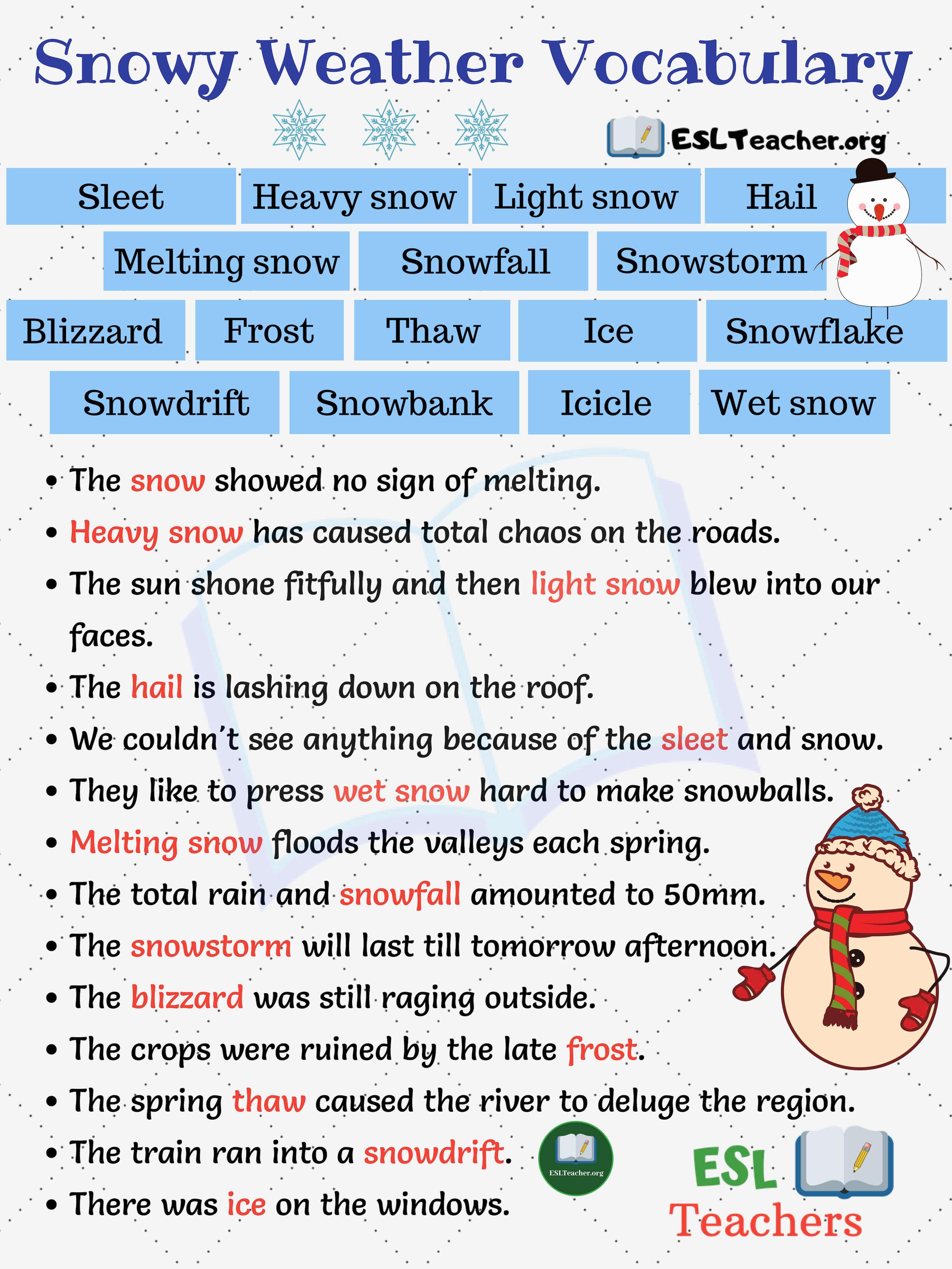 Snowy Weather Vocabulary