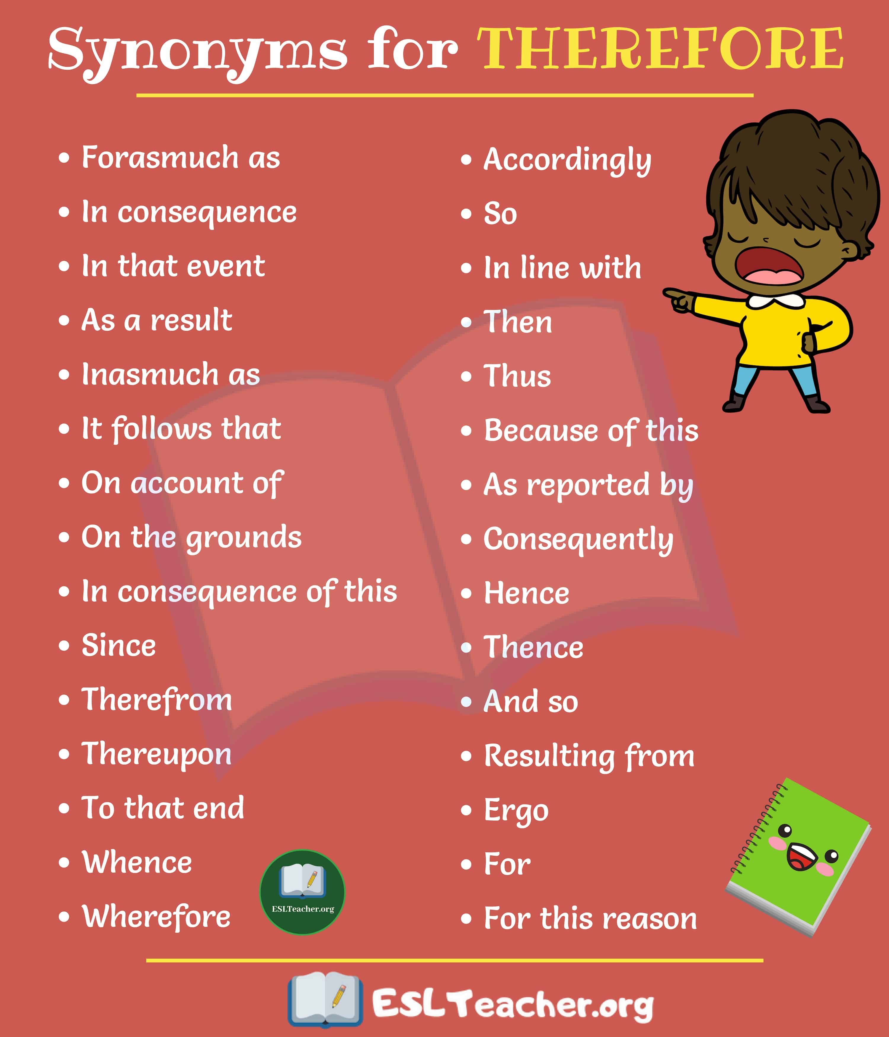 THEREFORE Synonyms: 30 Interesting Ways To Say Therefore - ESL Teacher