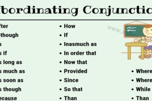 Subordinating Conjunctions List