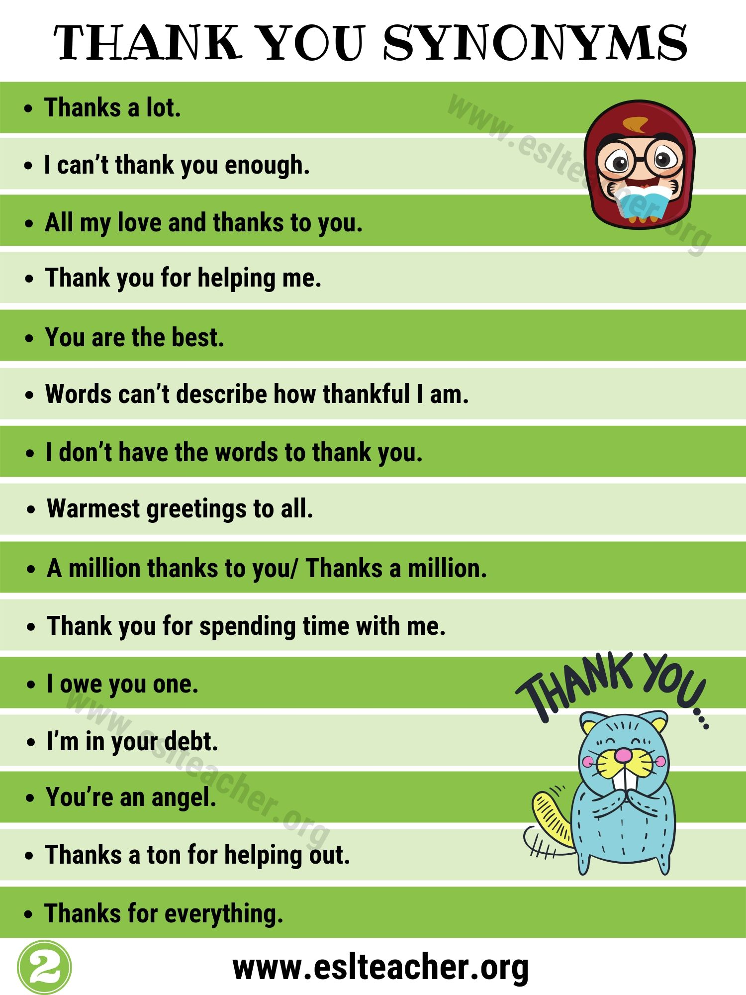 Synonyms for Thank You